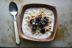 vanilla granola with dried cherries and almond milk