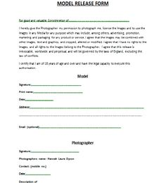 Photo Release Form  Free Model Consent Template  Photography