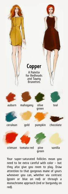 12 ideal color combinations for your hair and clothes brightside. Deep Autumn, Warm Autumn, Mode Outfits, Fashion Outfits, Color Type, Redhead Fashion, Rides Front, Fall Color Palette, Color Me Beautiful