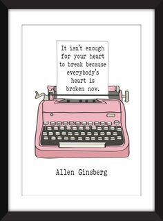 "Allen Ginsberg ""Heart"" Quote Typography Print 11 x 14/8 x 10/5 x 7 A3/A4/A5 Print by TheWordAssociation on Etsy"