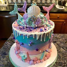 "Fake Wedding Cake, Fake Cake, Display Cake, Faux Cake ""The Cassiopeia"" Fake Wedding Cakes, Fondant Wedding Cakes, Mermaid Birthday Cakes, Mermaid Cakes, Sirenita Cake, Cake Pedestal, Fake Cake, Sweet 16 Parties, Savoury Cake"