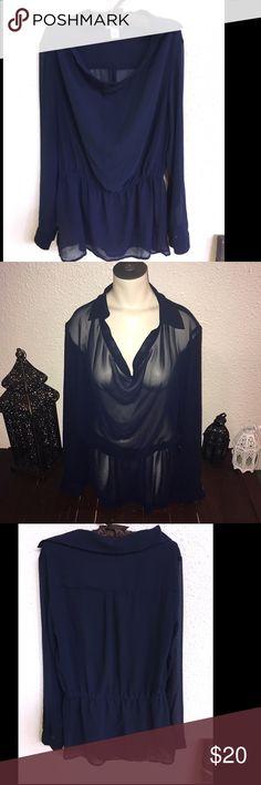 Carmen Marc Valvo navy sheer blouse Carmen Marc Valvo navy sheer blouse Carmen Marc Valvo Tops Blouses