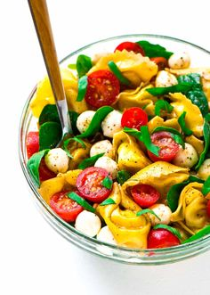 Caprese Pasta Salad made with tortellini, tomato, mozzarella, basil and balsamic. Fresh, easy and a perfect simple side, appetizer, or light dinner.