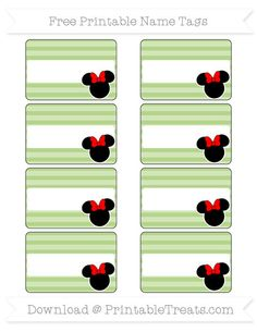 Free Pastel Light Green Horizontal Striped  Minnie Mouse Name Tags