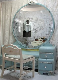 SOLD  Gorgeous Waterfall Art Deco Vanity Dresser by ProdigalPieces, $595.00