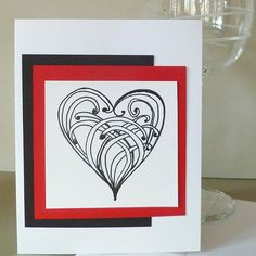 Valentine Card with Original  Zentangle  Hand Drawn  by bbesigns, $4.00