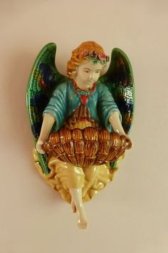 Antique french Art Nouveau Majolica Angel wall font