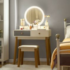 "Vanity Set With 3 Color Touch Screen Dimming Mirror, Dressing Table 4 Sliding "" Dressing Table With Chair, Makeup Dressing Table, Dressing Tables, Vanity Table Set, Vanity Set, Dresser Table, Small Makeup Vanities, Bathroom Vanities, Mirror With Lights"