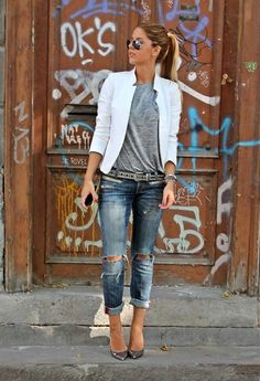 white jacket, distressed jeans and tee - love