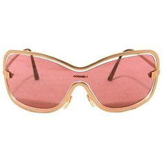Preowned Chanel Rare Gold Floating Frame Sunglasses ($425) ❤ liked on Polyvore featuring accessories, eyewear, sunglasses, multiple, gold glasses, gold lens sunglasses, chanel eyewear, engraved glasses and chanel glasses