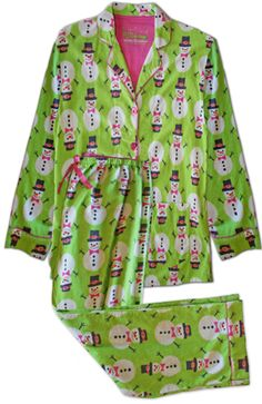 "PJ Salvage ""Lime Snowmen"" Women's Flannel Pajama Set - The Pajama Company Family Pjs, Pajama Day, Gamine Style, Flannel Pajamas, Night Gown, Deal Today, Couture, Wishful Thinking, Snowmen"