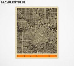 HOUSTON TEXAS Map Poster Giclee Fine Art Print by JazzberryBlue, $22.00