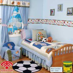 Fot my baby boy ^^ Ciptakan nuansa nyaman pada kamar anak dengan menaplikasikan warna teduh Blue Corridor dari cat tembok PROPERTY. Selain warna ini dapat memberikan kesan luas, cat tembok PROPERTY dengan teknologi anti bakteri mampu menekan pertumbuhan kuman dan bakteri, sehingga kamar anak tidak hanya terlihat indah tapi juga sehat. Dengan menambahkan aksesoris kesukaan anak, pastinya akan membuat anak lebih betah berada di kamar. Bagaimana menurutmu?