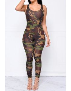 Womens Sleeveless Camo Print Bodycon Jumpsuit Party Clubwear - FADCOVER