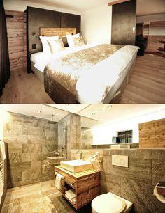 Alpslodge - life.style.hotel.fiss | Boutique Hotel | Fiss | Austria | http://lifestylehotels.net/de/alpslodge | Bathroom & Bed
