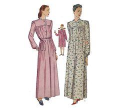 40s Shirtwaist Nightgown Sewing Pattern Nightie by HoneymoonBus