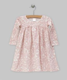 Baby Girl Dress Blush & Ivory Filigree Cotton Rib by TesaBabe