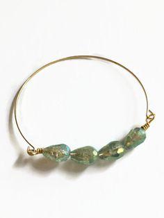 Gold Wire Bangle Bracelet with Aqua Tear Shaped Glass Beads Wire Bracelet by JulemiJewelry
