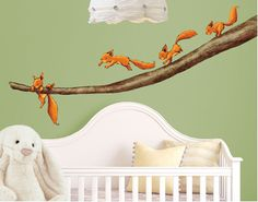 Squirrels running through childrens' rooms ... (wall decal)