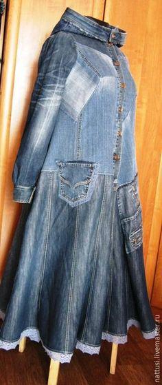 48 Trendy Ideas Diy Clothes Refashion Upcycling Old Jeans Jeans Denim, Denim Coat, Denim Fashion, Boho Fashion, Diy Clothes Refashion, Shirt Refashion, Diy Vetement, Denim Ideas, Altered Couture