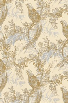 Pheasant Per Roll Pheasant Wallpaper Color: Grey Ochre on Cream Width (mm): 520 Repeat (mm): 1022 Style: Quarter Drop Material: sustainable forest paper Roll length (metres): 10 metres Dining Room Wallpaper, Home Wallpaper, Hallway Wallpaper, Room Color Schemes, Room Colors, Vintage Bird Wallpaper, Pineapple Wallpaper, Timorous Beasties, Design Repeats
