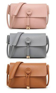 d4844ab79a71 Women Pure Color Vintage PU Leather Crossbody Bags Shoulder Bags Leather Crossbody  Bag