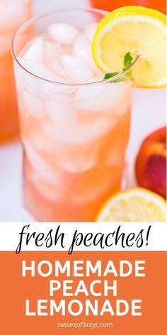 Lemonade Recipe For Party, Peach Lemonade Recipes, Homemade Lemonade Recipes, Juice Drinks, Fruit Drinks, Beverages, Refreshing Drinks, Summer Drinks, Peach Juice