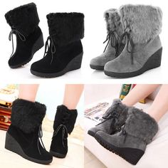 New Womens Winter Fashion Ankle Boots Elegance Wedge Shoes Sweet Lace Up US 5 11 | eBay