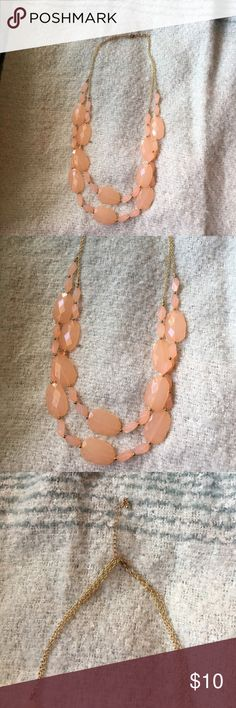 Multi Strand Necklace This pretty peach necklace with gold details was originally purchased at target. The stones are a plastic material.It has an adjustable clasp so you can make it a little longer or shorter. Only worn once, like new! Xhilaration Jewelry Necklaces