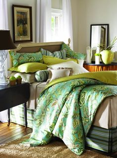 Tuckers Point Mystic Valley Traders - this is intriguing. I'd like to see more of the room to see the rest of the color scheme. Mystic Valley, Tropical Bedding, Lay Me Down, Color Schemes, Comforters, Bedroom Ideas, Master Bedroom, Rest, Blanket