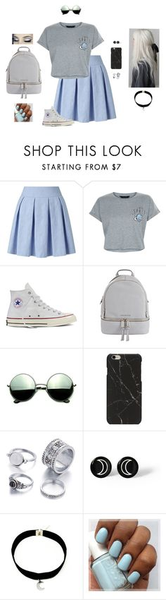 """""""~ To The Moon ~ And Back ~"""" by hanakdudley ❤ liked on Polyvore featuring Miss Selfridge, New Look, Converse, MICHAEL Michael Kors and Revo"""