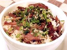Arroz Carreteiro. Traditional dish from the South of Brazil made with rice and Brazilian dried meat.