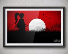 Red sky Black silhouettes White sun Warrior girl Samurai girl Simple scenery Japanese Red and Black Silhouette art Shadows art Sun set