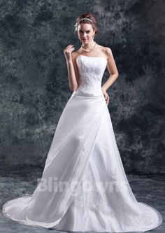 Sweep Appliques Tulle Strapless White A-line Sleeveless Zipper Wedding Dresses