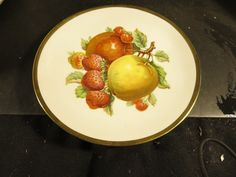 "Vintage Mitterteich Bavaria 7-1/2"" Fruit Plate Apples and Strawberries picclick.com"