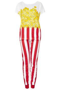 Pyjama Mit Popcorn-Print