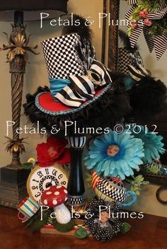 "You can keep this up all year round. It is wonderful and on Etsy    NEW ""ThE MaD HaTtEr TeA PaRtY""  Hat Stand Centerpiece - 28"" tall - Petals & Plumes-Hat n' Boots 2012.....(MADE to ORDER)"