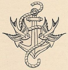 Thread Tattoos Anchor and Swallows | Urban Threads: Unique and Awesome Embroidery Designs Craft Ideas | tattoos picture urban tattoo designs