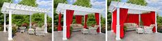 Pergola Blinds, Curtains and Privacy Wall - Ohio Hardwood Furniture Outdoor Shutters, Pergola Curtains, Curtains With Blinds, Hardwood Furniture, Custom Furniture, Privacy Panels, Bamboo Fence, Covered Pergola, Backyard