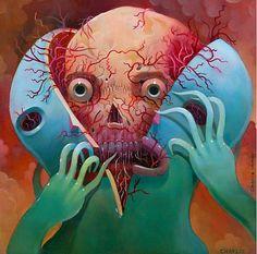 Splitting lowrez Fine art and illustration by Charlie Immer Bizarre Kunst, Bizarre Art, Weird Art, Art And Illustration, Illustrations And Posters, Arte Horror, Horror Art, Creepy Horror, Macabre Art
