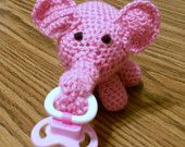 Crocheted pink elephant passy holder