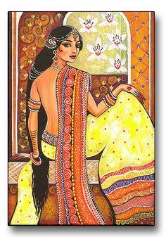 India Goddess Woman Traditional  Bharat  Art Print by evitaworks, $17.00