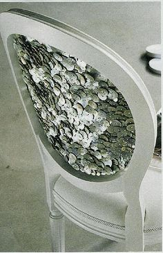 Sequined Chairback..this would be pretty as the girls vanity chair. Must find old chair and make!