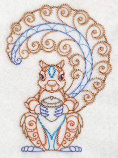 Acorn Harvest Squirrel Embroidered Flour Sack Hand/Dish Towel