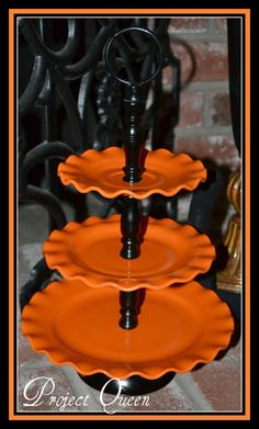Festive Halloween Tiered Plates~Made from white Thrift store plates.