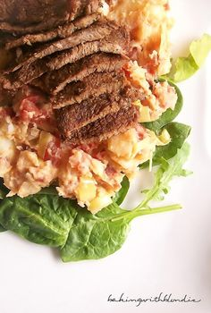 Marinated Grilled Sirloin Tip Steak with BLT-Smashed Potatoes