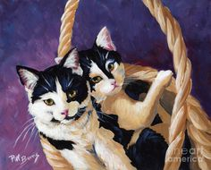 Cat Painting - Sisters by Pat Burns