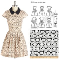 Make the Clear As Day Off Dress from Modcloth - Simplicity 2444, add collar, Fox and The Houndstooth Eyeglasses Grey Cotton by Riley Blake