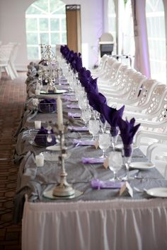 Purple and grey linens for our wedding http://alldeckdout.blogspot.com