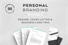 Resume Bundle-Personal branding by Profilia Resume Boutique on @creativemarket